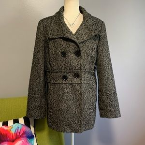 ESPRIT Wool Tweed Black & White Peacoat D4